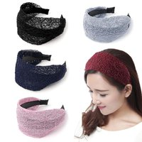 Elegant Lace Hairbands Crochet Wide Lace Headband Toothed Head Hoop Non-slip Hair Accessories Wide Fashion Hairbands Headwear