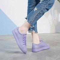 Bayan Sneakers 2019 Bahar Hakiki Deri Düz Beyaz / Siyah Sneakers Rahat Kadın Ayakkabı Öğrenci Sneaker Kadın Ayakkabı Erkek Tekne Sho L5DA #
