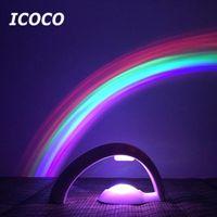 Luci di emergenza 2a generazione 3D Romantico Arcobaleno Proiettore Colore LED Night Light Atmosphere Lamp per Bambino Bed Bedroom Home Decor Drop
