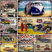 Motor Bus Car Plate License Metal Tin US Route 66 Tinplate Poster Vintage Pin Up Signs Bar Cafe Garage Wall Decor Plaquesa