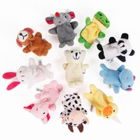 Children's early education toys, miniature animal finger baby plush toys, finger puppet talking props 10 animals  1 sets, stuffed animal toy