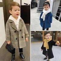 Baby Boy Девочки шерстяной куртка длинные двубортные теплые младенческие штанги отвороты твидовые пальто весна осень осень зима детские туре одежда 819 v2
