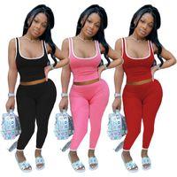 Rahat 2 Parça Set Kadın Eşofman Yaz Giysileri Kırpma Üst Ve Pantolon Ter Suits Lounge Giyim Kıyafetleri Iki adet Eşleştirme Setleri