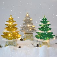 Christmas Decorations Mini Desktop Christmas Tree Ornaments Shiny 3D Pop-up Card With Lights Xmas Decoration LLA9125