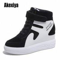 Новые высокопроизводительные кроссовки женщин кружев повседневные туфли с мехом теплые плоские платформы обувь студент твердой зимней хлопчатобумажной обуви K953 Winter Bo H5oz #