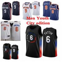 نيويوركنيكسالرجال الاطفال r.j 9 باريت جيرسي 6 بورزينجيس كرة السلة الفانيلة 2021 مدينة الفانيلة الطبعة الأزرق أسود أبيض الشباب S-3XL