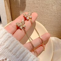 Stud Retro Classic 14k Real Gold Jewelry Butterfly Tassel Earrings For Women S925 Silver Needle High Quality Zircon Party