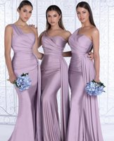 2022 Blush Pink African One Shoulder Mermaid Bridesmaid Dresses Floor Length Wedding Guest Gowns Junior Maid Of Honor Dress Ribbon Elastic Satin Party Gown