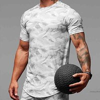 Fashionasrv Men's Quick-dry Sport Camo Shirt Short Sleeve Workout Gym Tops Compression Slim Fit Running Men Fitness Casual T-shirt