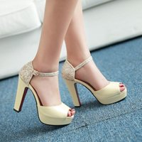Dress Shoes Womens Sexy Luxury Black White Thick Woman Super High Heels Platform Sequins Plus Size 32-43 Female Red Bottom Sandals