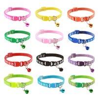 Cartoon halsbanden met klok verstelbare polyester katten hoofd gesp weerspiegelende kraag kleine maat puppy huisdierbenodigdheden