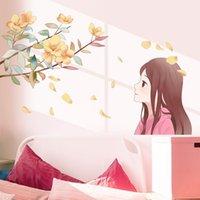 Pegatinas de pared [Shijuehezi] Chica de dibujos animados DIY Flowers Mural Calcomanías para niños Habitaciones Baby Dormitorio Niños Nursery Decoración del hogar