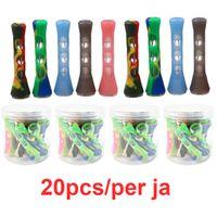 Silikonraucher-Glasbongs 3,4 Zoll Zigarettenhand Tragbare Mini-Tabak-Rohre Zigarettenhalter
