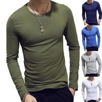 남성 T 셔츠 긴 Leeve Cotton Spring 가을 열기 襦 袢 방어리 망 T 셔츠 전체 슬리브 둥근 목 캐주얼 남성 티셔츠