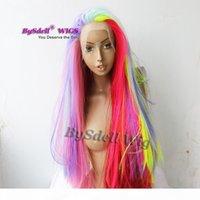 Renkli Saç Peruk Sentetik Uzun Düz Vurgulama Pembe Mor Renkli Saç Dantel Ön Peruk Mermaid Cosplay Parti Pelucas Kadınlar için Peruk