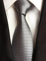 Bow Ties 8cm Men's High Quality Jacquard Woven Neck Tie Silver Grids Checkered Plaids Neckties For Men