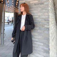 Women's Trench Coats Long female autumn trench coat Autumn and winter plus middle length cardigan long sleeve LNW0