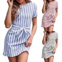 Женская одежда Повседневная платья 2021 Новый весенний лето S-XL полосатый ремень с коротким рукавом платье синие полосы футболка