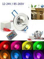 Emballage de 10, 3Watt RGB Spotlights de plafonnage Downlight encastré Lampe de plafond 3W LED Blub DC12V / AC 85-265V