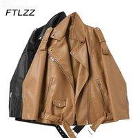 Femme's Cuir Femme Femme Femme Moto Jacket Chute Drop Broad Manteau Brown Manteau Dames Zipper avec ceinture Streetwear Outwear