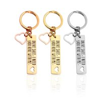Keychains Stainless Steel Key Fashion Chain Drive Safe I Need You Good Driving Gift Double Ring Anti Falling Off Keychain Pouch