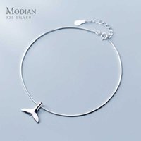 Kadınlar için Basit Sevimli Mermaid Kuyruk Halhal Moda 925 Ayar Gümüş Link Zinciri Hayvan Güzel Takı Kız Hediye 210707