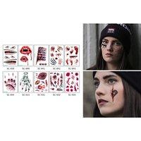 30pcs 레이디 여성을위한 할로윈 방수 임시 문신 3D 현실 뱀파이어 혈액 흉터 디자인 문신 스티커 9.14