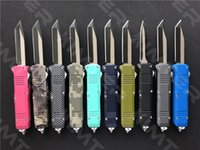 Micro C07 Dual Action out the front Automatic Mini Knife Grey Tanto Straight Edge 440C Blade EDC Small Tactical Auto Knives Personalized Christmas Gift Cncostco