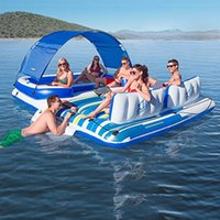 Large Inflatable 6 Person Lake Pool River Tropical Breeze party Island Float Boat Swimming Floats Bed with Sun Canopy for CA/UK