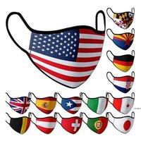 Banderas nacionales Máscara de algodón puro Máscara de cara a prueba de polvo Lavable Reutilizable Reutilizable Mascarillas Party Masks HWA3900