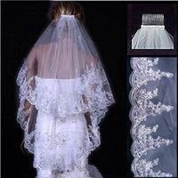 luxury Wedding Veils 2 Layer Lace Applique Edge With Beads Rhinestones Veil Bridal Accessories