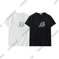 2021 여름 뉴스 디자이너 럭셔리 티셔츠 여성 T 셔츠 클래식 꽃 파란색 편지 인쇄 캐주얼 코튼 티셔츠 티 탑