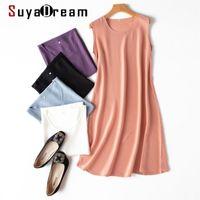 SuyaDream Mini vestido 100% seda sólido sólido una línea sin mangas o vestidos de cuello primavera verano elegante vestido de seda Vestidos 210309