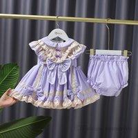 Baby girls lace hollow embroidery Bows princess dress kids doll lapel patchwork color falbala fly sleeve dresses+PP short 2pcs sets children cartoon shirt Q1151