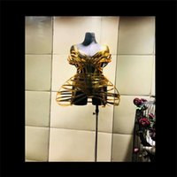 Party Decoration DC20 Gold Mirror Female Stage Costumes Ballroom Dance Girdle Dress Sexy Perform Wears Clothe Strips Outfits Bar Bodysuit
