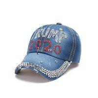 Fashion Trump Béisbol Cap de béisbol Hat Elección Campaña Hat Cowboy Diamond Cap Ajustable Snapback Mujer Denim Diamond Sombreros HWA7554