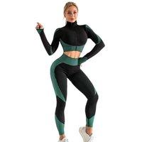Femmes Tracksuits Yoga Sports Leggings Automne et hiver Tricoté Hip-Lifting Elastic Fitness Sportswear Gym Vêtements Veste à glissière