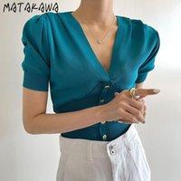 T-shirt da donna Matakawa a maniche corte in maglia a maniche corte Delle donne slim t-shirt T-shirt vintage con scollo a V magliette chic metallo monopetto monopetto
