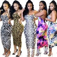 Summer Women designer backless slip dress leopard skinny one-piece casual sleeveless stripe long skirts sexy package hip skirt