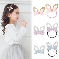 24 stück / los Glitter Filz Gold Leder Baby Mädchen Haarspange Silber Kaninchen Ohren Haarspange Niedliche Tier Prinzessin Haar Krawatten Haarband 125 y2