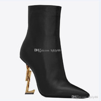New Spring Fall Black Real Cuero Boda Shoes de novia OPYUM Snake Tacones Puntas puntiagudas Toe Tacones Altos Bombas Botas de mujer Diseñador DH