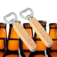 Деревянная ручка пивная бутылка открывалка простые без отверстия из нержавеющей стали открывалка для бутылок творческий простой домашний бар