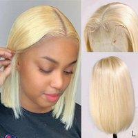 Spitze Perücken Blonde Bob Front Perücke Gerade 613 Kurzes Menschliches Haar Für Schwarze Frauen Vorgepuckte gebleichte Knoten T Teil Frontal