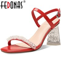 Fedonas Fashion Newest Chaussures Femme Talons Sutumer Strass High Heel Pompes Femelle Véritable Sandales de mariage en cuir véritable pour Wome