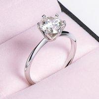 Moissanite الفضة الاسترليني S925 الأربعاء الدائري 0.5 كارت الكلاسيكية ستة مخلب الماس الاشتباك الوعد ل زوجين هدية عيد