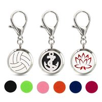 Keychains Baseball Flower Key Chain Essential Oil Perfume Diffuser 30mm Magnetic Locket With Lobster Clasp Ring 10pcs Pads Free