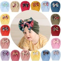 Beanies 2021 Baby Stuff Accessories Girl Hat With Bow Knot Infant Beanie Big Bowknot Cap For Girls Kid Hats Print Baotou