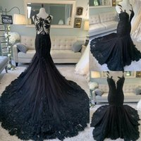 2020 Sexy Backless Black Lace Mermaid Slim Gothic Wedding Dresses Formal Bridal Gowns Customized Vestidos De Marriage Garden Formal Long