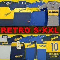 97 98 Boca Juniors Jersey de football rétro Maradona Roman Canégigia 96 1997 01 2002 Chemise de football de Palerme Maillot Camiseta de futbol 2005 100 e