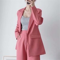 Women Suits Fashion Women Single Button Suit Blazer Long Sleeve Pocket Office Lady Business Blazers Coat Female Retro Pink Tops